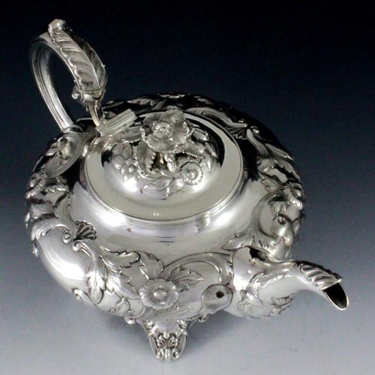 英国アンティークス・オフィシャルブログ-Silver tea service William Hunter London 1843