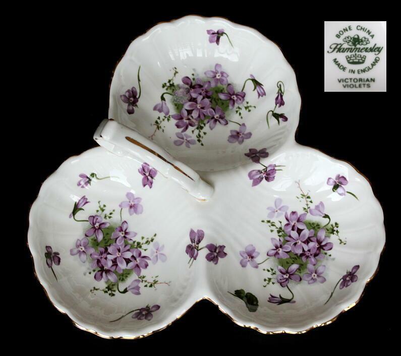 美しい国、英国のアンティーク&カントリーライフ-Victorian Violets 3 compartment dish